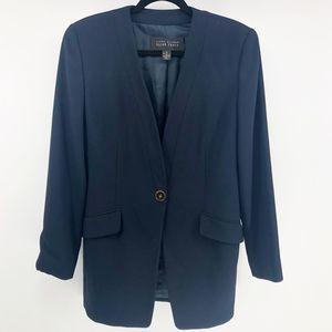 Ellen Tracy Navy Single Button Oversized Blazer
